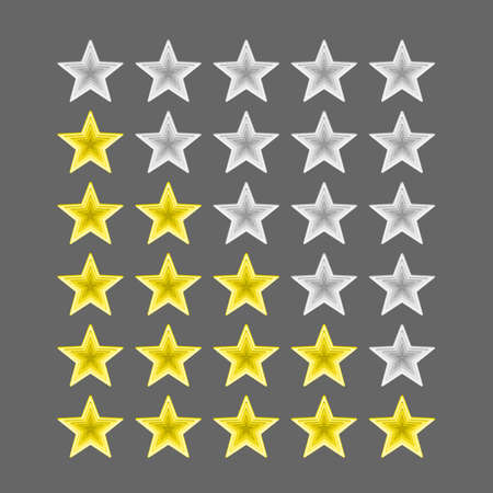Five star rating icon. Vector rating flat signs. Vectores