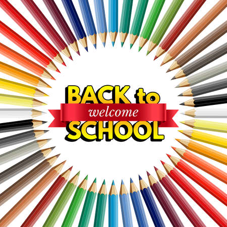 Welcome back to school design template. Vector realistic color pencils, red ribbon with welcome word and Back to school text on white background.
