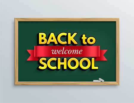 Welcome back to school design template. Vector red ribbon with welcome word and Back to school text on green blackboard background.