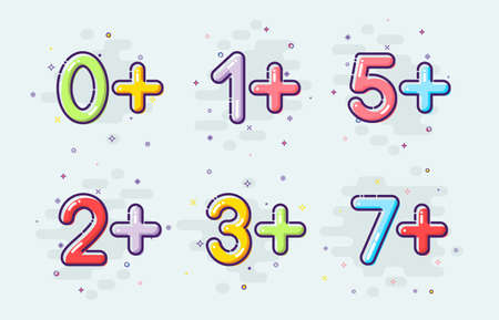 Kids age restrictions set. Vector kids ages in mbe design style.