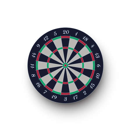 Classic realistic darts board isolated on white background Vectores