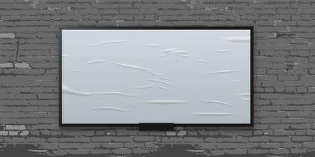 White glued blank billboard on brick wall background