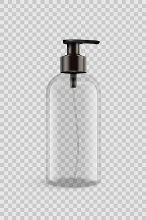 Vector 3D realistic blank transparent plastic bottle for Liquid soap or sanitizer