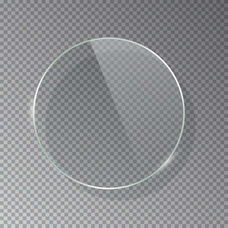 Realistic 3d circle glass frame isolated on grey transparent background. Creative border plate object. Round framework.