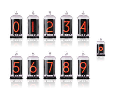 Vector numbers for vintage steampunk style lamp clock.