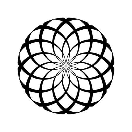 Spiral serpentine in round shape illusion on white