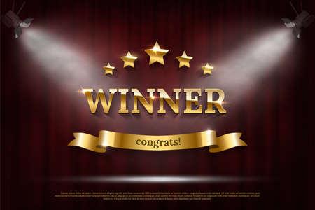 Vector realistic mockup sign Winner congrats