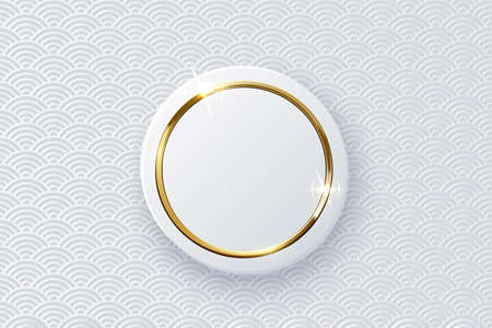 Golden ring on white button isolated on pattern Vectores
