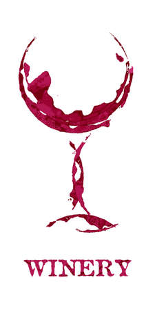 Winery and shape of wineglass graphic design on white background. Red abstract imprint, watercolor stain, grunge texture. Vector template illustration of winery business, restaurant, event invitation.