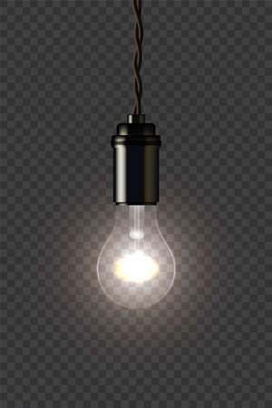 Vintage glowing lamp holding on wire on dark transparent background. Vector isolated design element.
