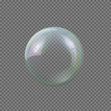 Big soap bubble on gray transparent background