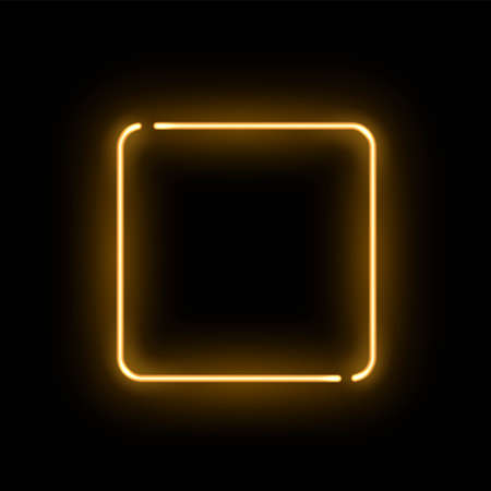 Abstract golden neon luminous square on black background