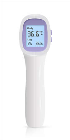 Medical thermometer showing normal temperature. Medicine and healthcare. Examination, diagnosis and treatment strategy selection. Vector object isolated on transparent background.