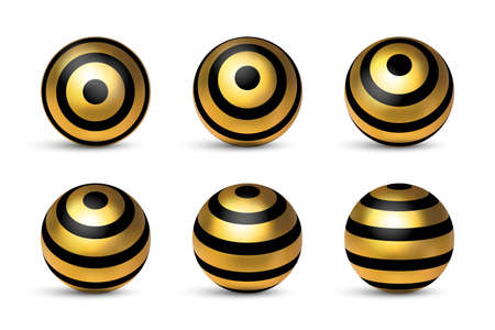 Realistic glossy golden black sphere stripped 3d metal in different position set isolated on white background. Vector design geometric ellipse element. Modern spherical globe object template.