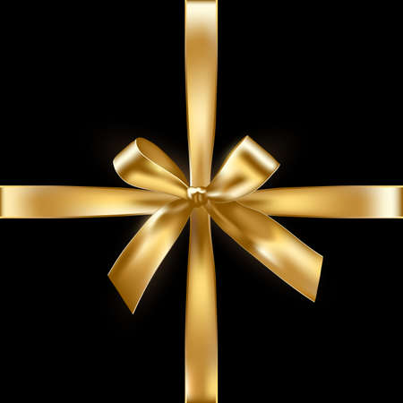 Realistic vector golden ribbon bow on black space