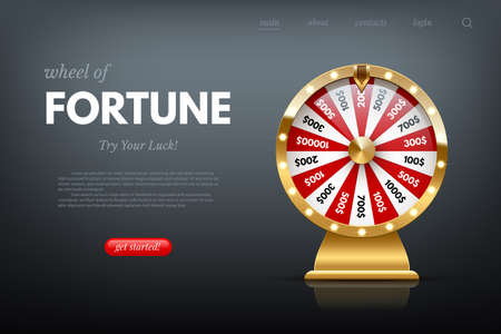 Casino fortune wheel sitepage template. Shiny lucky number wheeling roulette. Gambling industry, entertainment, hobby concept. Design for online poker room, website, mobile app. Vectores