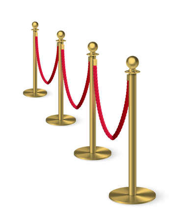 Golden column barrier with red rope. Gold luxury VIP design element for exhibition pavilion, auto show, theatre and cinema premier, winner reward ceremony. Guard object isolated on white background. Vectores