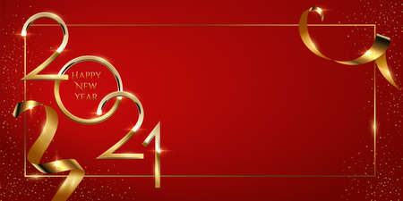 Happy new year greeting card vector template. Festive christmas social media banner design with congratulations. Golden 2021 number in frame with confetti realistic illustration with typography.