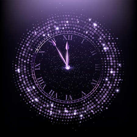 Shining purple round clock on dark background
