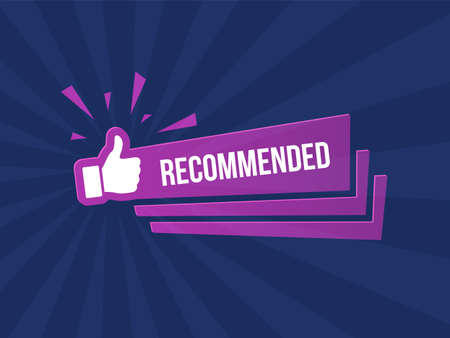 Recommended banner with thumbs up on dark striped blue background