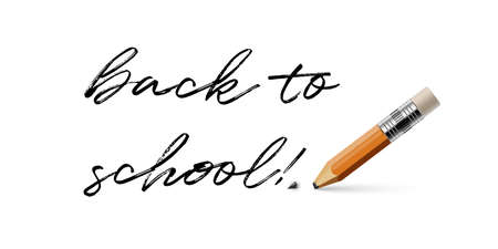 Pencil with a broken tip and Back to school phrase isolated on white background. Vector realistic illustration. Vectores