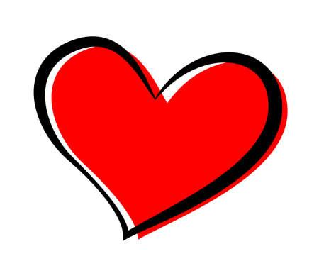 Red and black heart vector illustration. Abstract romantic icon. Romance, valentine holiday celebration symbol. Wedding invitation, greeting card decorative design element.