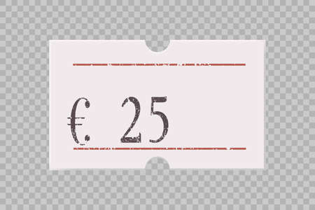 Euro price tag with digit numbers isolated on transparent background. Paper sticker, label, badge for different goods and product. Realistic vector shop or store material template. Vectores