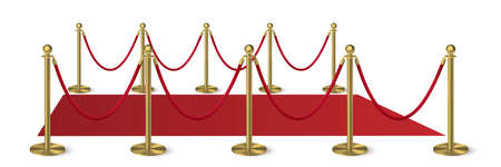 Red carpet with golden columns guard isolated on white background. Entertainment, festival event, reward ceremony. Vector design for cinema premiere celebration and performance on stage, in theater. Foto de archivo