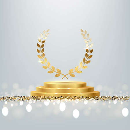 Golden award round podium with laurel wreath, shiny glitter and sparkles isolated on light background. Vector realistic illustration of symbol of victory, achievement of success, rewarding of winner. Foto de archivo