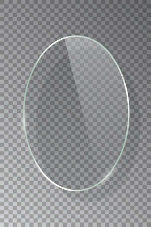 Realistic 3d vertical ellipse glass frame isolated on grey transparent background. Creative border plate object. Round framework. Vectores