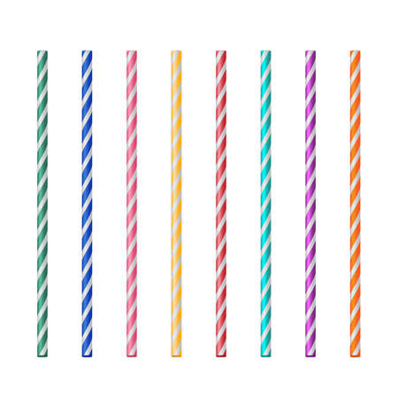 Straight realistic drink straw pipe set on white