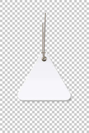 Blank white triangle paper price tag isolated on transparent background