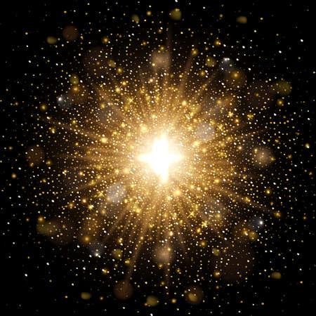 Realistic sparkling magic lights on black