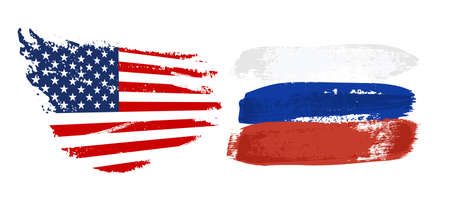 USA and Russia national flag grunge vector design