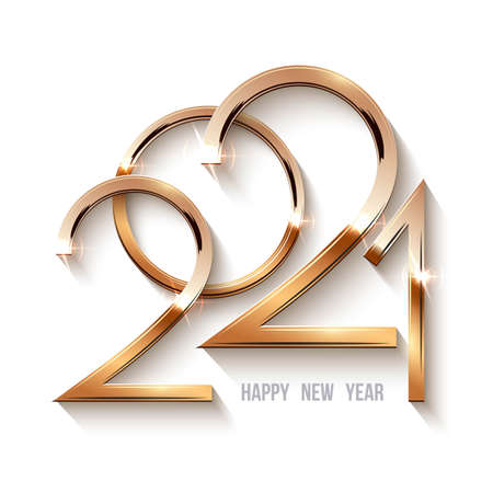 Happy new year 2021 background. Gold shining in light with sparkles abstract celebration. Greeting festive card vector illustration. Merry holiday modern poster or wallpaper design Vetores