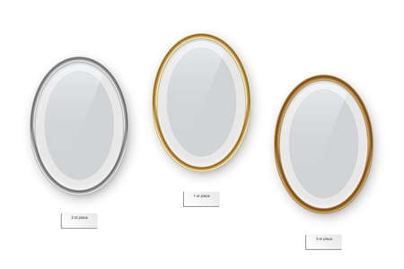 Oval podium frames. Golden, silver and bronze borders isolated on white Иллюстрация