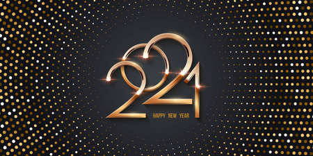 Happy new year 2021 card with halftone background. Shining with sparkles numbers and dots pattern. Greeting festive vector illustration. Merry holiday modern poster design
