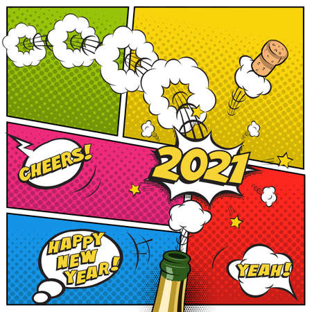 2021 New Year postcard or greeting card template. Vector festive retro design in comic book style with champagne bottle and flying cork.