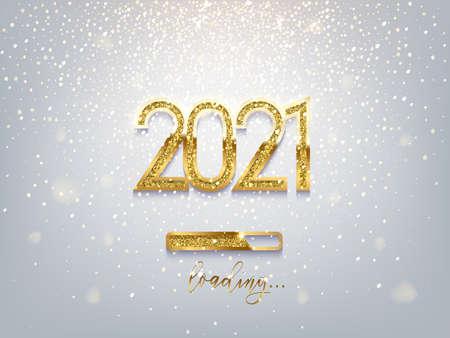 2021 New Year golden loading bar vector illustration Ilustración de vector