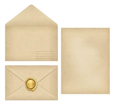 Vintage envelope with place for address, empty old grunge paper writing letter, golden wax seal postmark for sealed greeting, invitation postcard on closed mail flat set. Vector illustration. Ilustração
