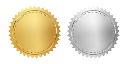 Golden and silver stamps isolated on white background. Luxury seals. Vector design elements. Ilustración de vector