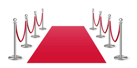 Red carpet with metal column guard on white space