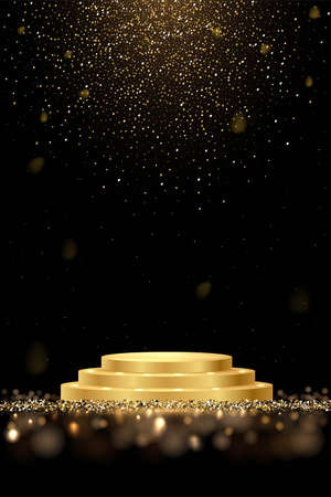 Golden award round podium with shiny glitter and sparkles isolated on dark background. Vector realistic illustration of symbol of victory, achievement of success, rewarding of winner.
