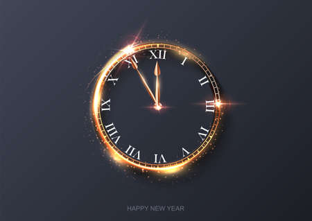 Happy new year clock countdown background. Gold light shining with sparkles abstract celebration at midnight. Festive glowing time card vector illustration. Merry holiday design
