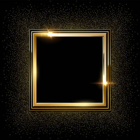 Golden metal square frames with sparkles background. Shining abstract object. Yellow shiny lines. Modern futuristic graphic vector illustration. Flares glowing effect Ilustração