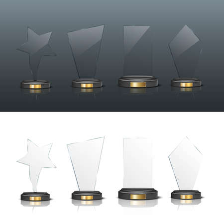Award trophy set. Star and rectangle shaped glass prize statues on white and black background. Champion glory in competition vector illustration. Hollywood fame in film or championship in sport Ilustração