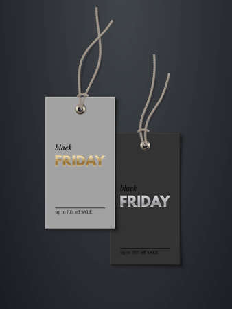 Black Friday price tags with sale mockup template set. Rectangle cards with grey strings for clothes with gold and silver text. Stickers on black background vector illustration. Realistic design.