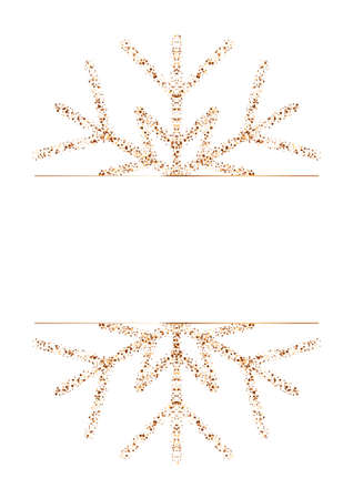 Glitter frame with golden snowflake isolated on white background. Border and design with gold sparkles. Glamour Christmas card, New Year celebration vector illustration. Rectangle modern pattern