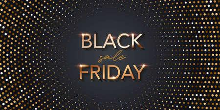 Black friday sale poster halftone background. Premium offer with discounts advert. Gold font, dots pattern. Special offer vector illustration. Modern elegant shining promo flyer Ilustração