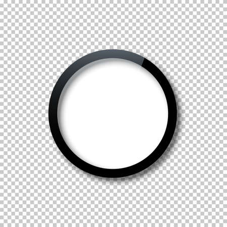 Black circle frame template with empty white copy space inside isolated on transparent background. Dark bound border shape with blank surface. Vector realistic framework mockup for design. Ilustração